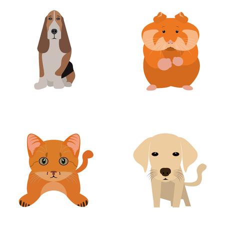 Set of different cute animals, Vector illustration Illustration
