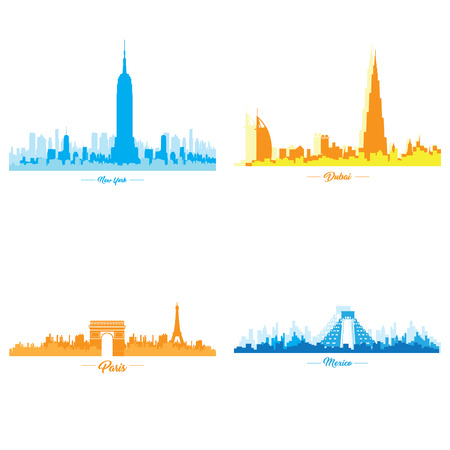 Set of skylines of different cities, Vector illustration