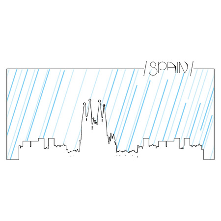Isolated abstract skyline of Barcelona, Vector illustration Illustration