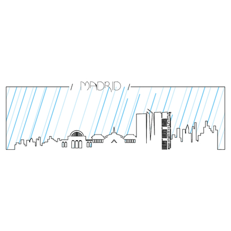 metropolis image: Isolated abstract skyline of Madrid, Vector illustration Illustration