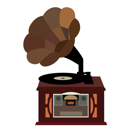 gramaphone: Isolated retro gramaphone on a white background, Vector illustration