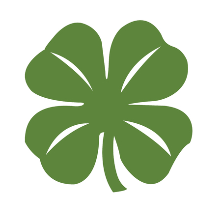 Isolated green clover on a white background, Vector illustration