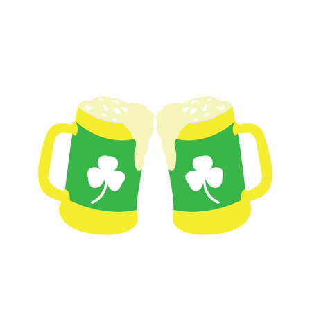 Pair of beer mugs on a white background, Vector illustration