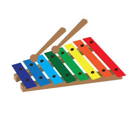 Isolato giocattolo xilofono su uno sfondo bianco