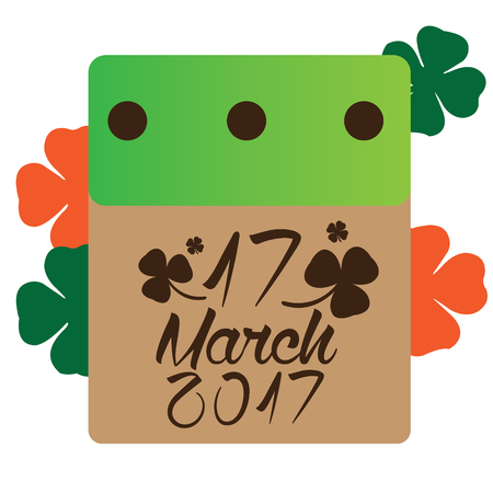 clovers: Isolated calendar with text and clovers, Patrick day vector illustration