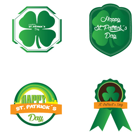 patrick: Set of patrick day objects and labels, Vector illustration