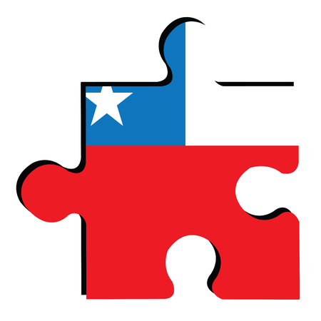 bandera chilena: Isolated piece of puzzle with the Chilean flag, Vector illustration