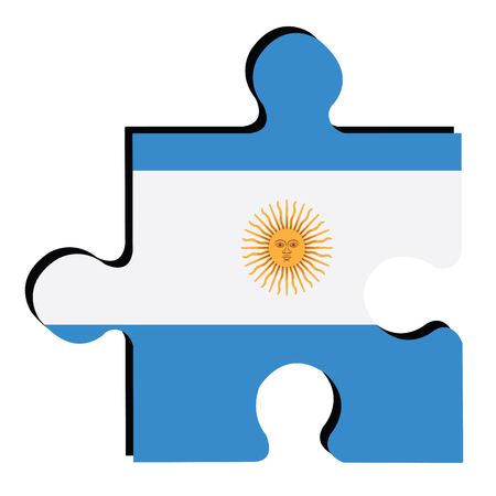argentinian flag: Isolated piece of puzzle with the Argentinian flag, Vector illustration