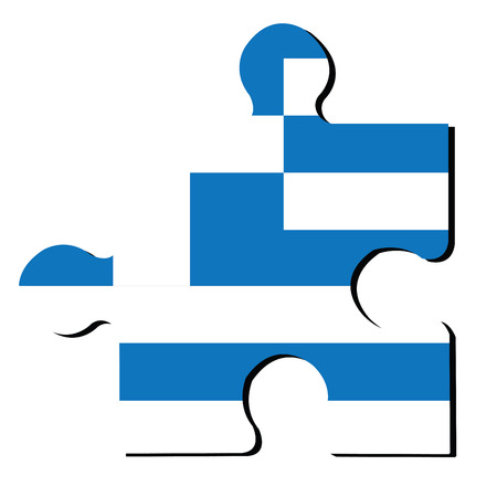 greek flag: Isolated piece of puzzle with the Greek flag, Vector illustration