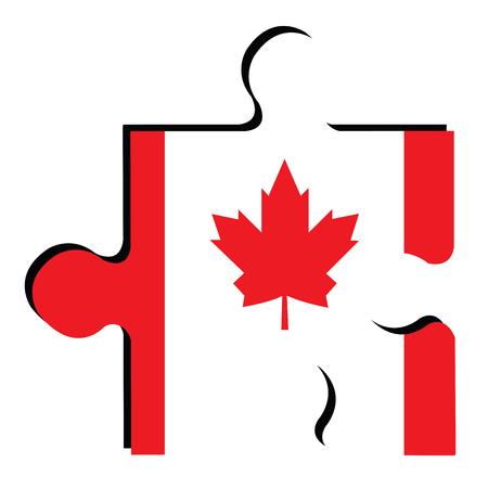 Isolated piece of puzzle with the Canadian flag, Vector illustration Stock Photo