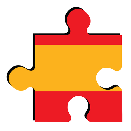 spanish flag: Isolated piece of puzzle with the Spanish flag, Vector illustration
