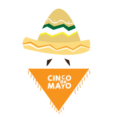 Isolated mexican clothes with text and a mustache, Cinco de mayo vector illustration