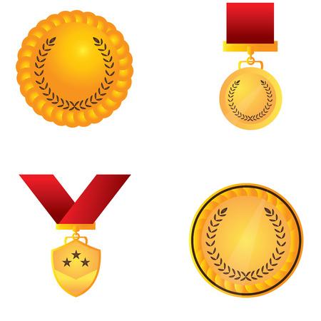 Set of different golden medals, Vector illustration