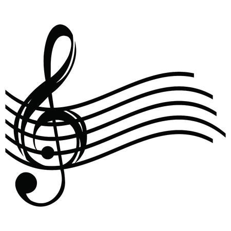 Lokalisiertes musikalisches Pentagram auf einem weißen Hintergrund, Vektorillustration