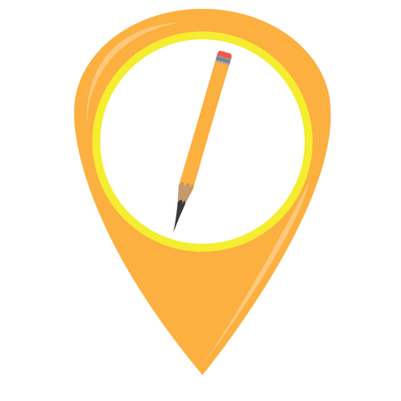 Isolated pencil on a pin, Vector illustration