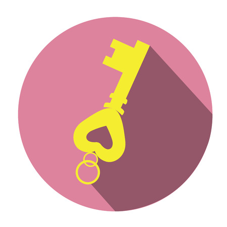 Isolated golden key on a colored tag, Vector illustration Illustration
