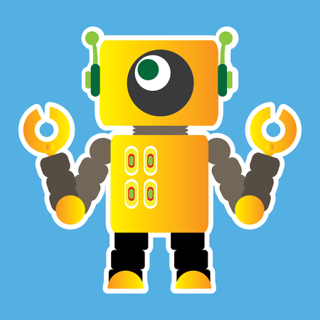 Isolated robot toy on a blue background, Vector illustration