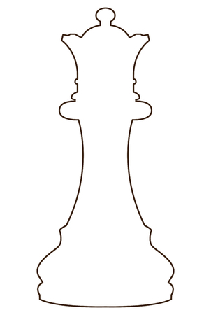Isolated queen piece outline on a white background, Vector illustration Illusztráció