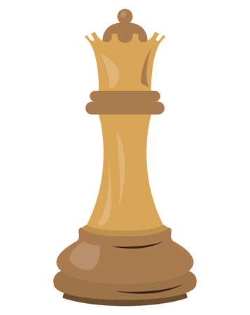 Isolated queen piece on a white background, Vector illustration