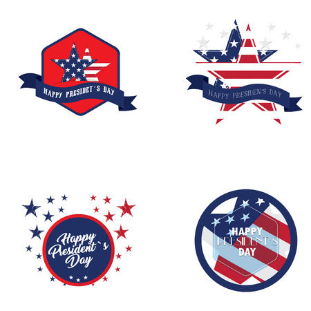 president day: Set of president day stickers on a white background, Vector illustration