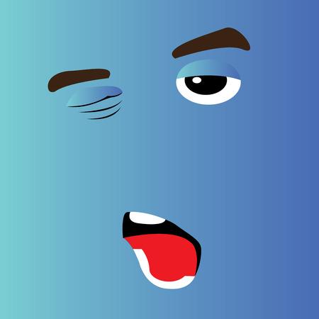 facial expression: Sleepy cartoon facial expression design, Vector illustration