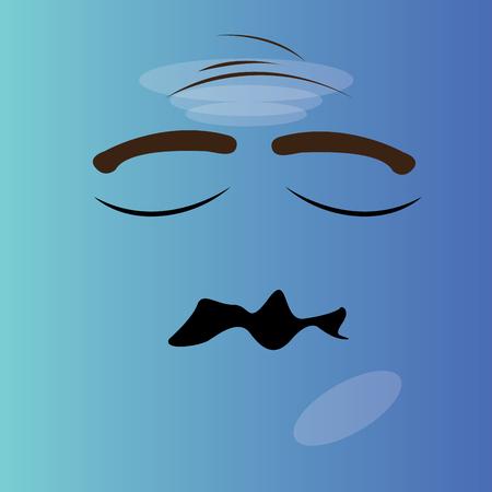 facial expression: Worried cartoon facial expression design, Vector illustration