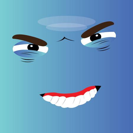 facial expression: Angry cartoon facial expression design, Vector illustration