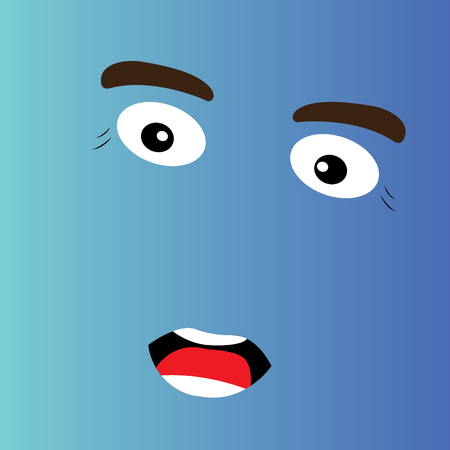 facial expression: Surprised cartoon facial expression design, Vector illustration