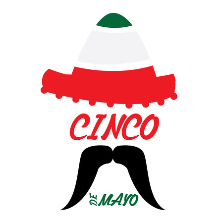 Isolated hat and a mustache, CInco de mayo vector illustration Illustration