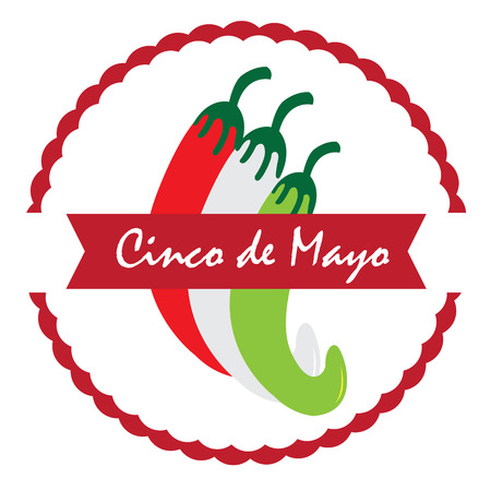 Isolated label with a group of peppers, Cinco de mayo vector illustration