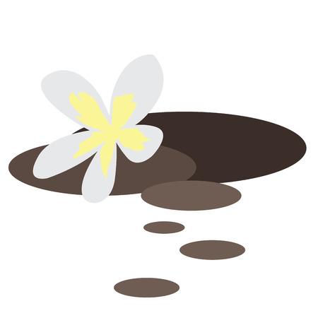 massage symbol: Isolated spa flower and stones, Vector illustration Illustration