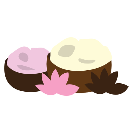 massage symbol: Isolated pair of stones and a pair of lotus, Vector illustration Illustration