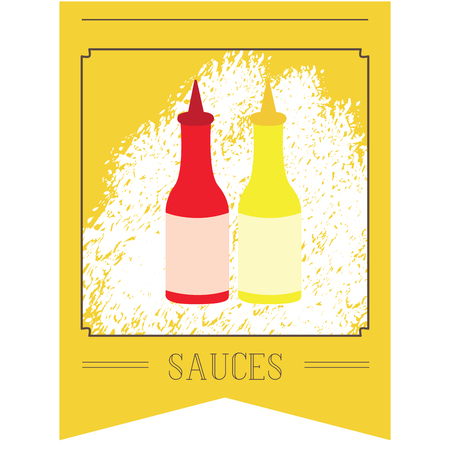 junkfood: Isolated banner with text and a pair of sauce bottles illustration Illustration