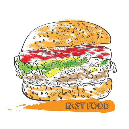 Isolated sketch of a burger, Vector illustration