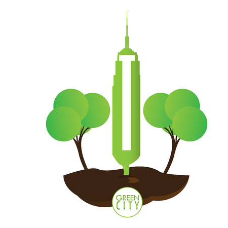 Abstract green city graphic design, Vector illustration Stock Photo