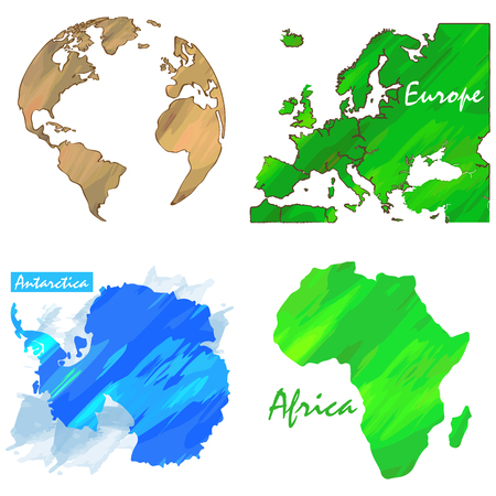Set of different world maps, Vector illustration