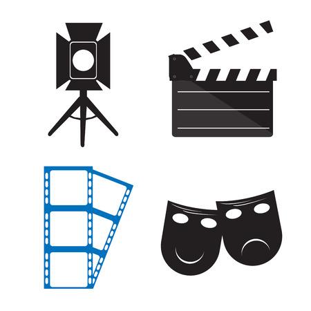 mardi grass: Set of different cinema objects, Vector illustration