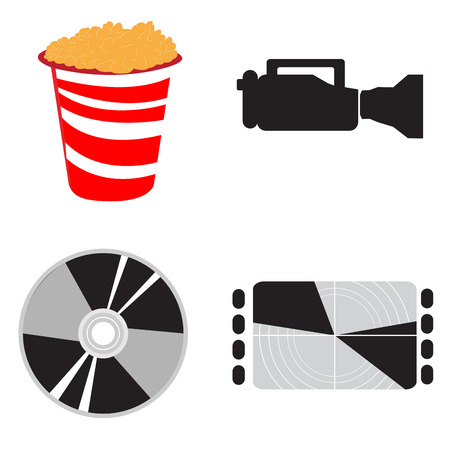 Set of different cinema objects, Vector illustration