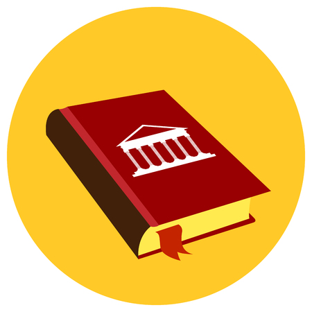 courthouse: Isolated law book on a sticker, Vector illustration