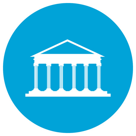 courthouse: Isolated law building on a sticker, Vector illustration