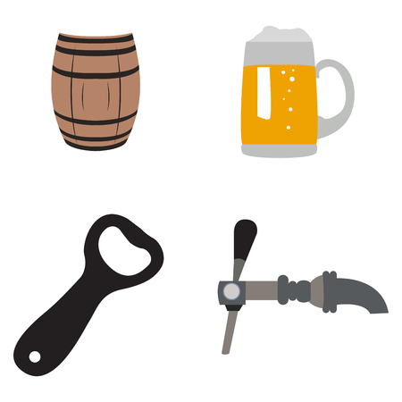 bottle opener: Set of beer related objects on a white background, Vector illustration