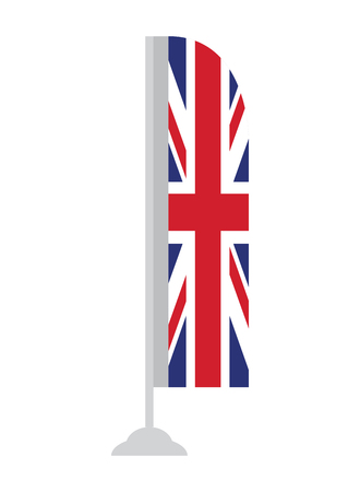 Isolated flag of the United Kingdom on a pole, Vector illustration