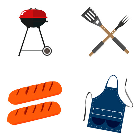 Set of barbecue related objects on a white background, Vector illustration