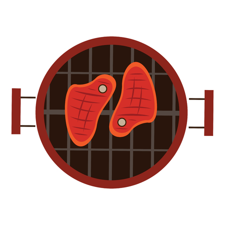 meats: Isolated grill with a pair of meats, Vector illustration