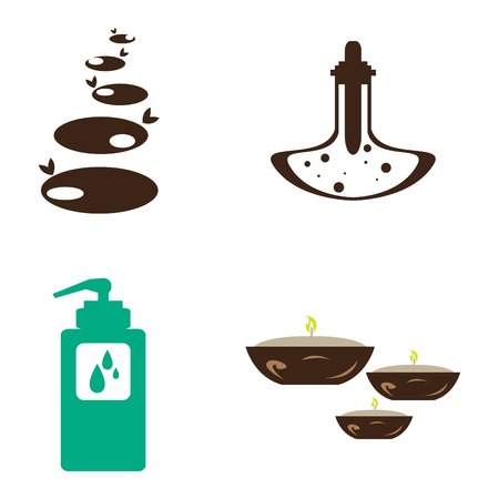 Set of different spa icons on a white background, Vector illustration