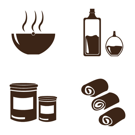 group therapy: Set of different spa icons on a white background, Vector illustration
