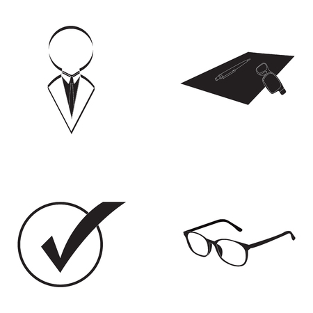 Set of business icons on a white background, Vector illustration