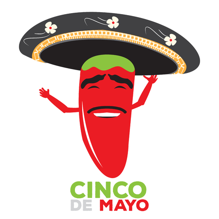 Isolated happy pepper with a traditional hat, Cinco de mayo vector illustration