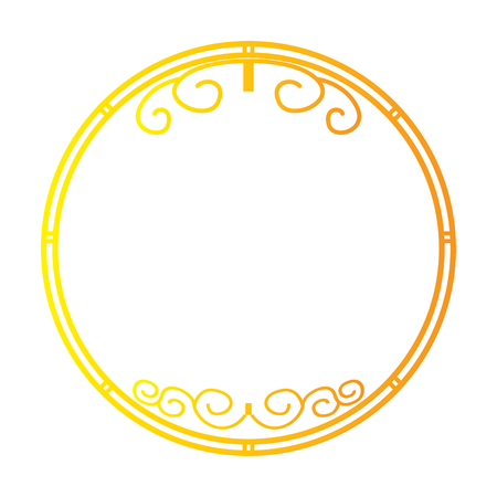 Isolated golden chinese label with gradient, Vector illustration
