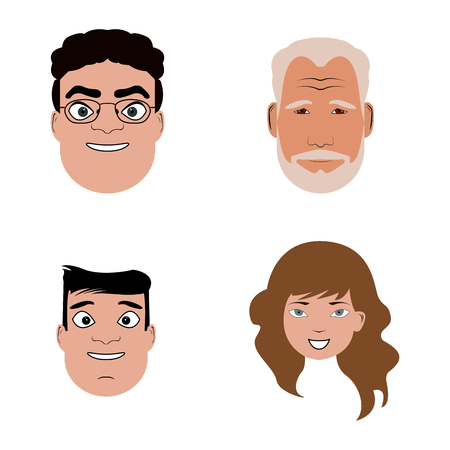 Set of different portaits of people, Vector illustration